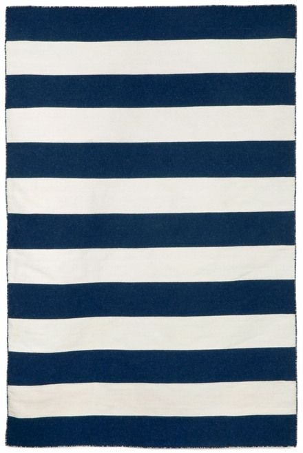 Simple Wide Nautical Stripes Of Blue And White Highlight The Fresh Pattern On This Navy Striped Area Rug
