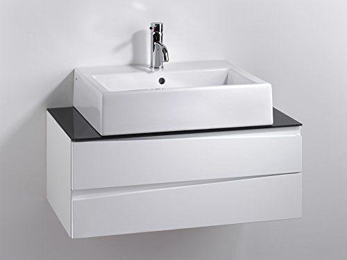 Cavadore Waschtisch Sharpcut Bad Weisser Badezimmerunterschrank Mit