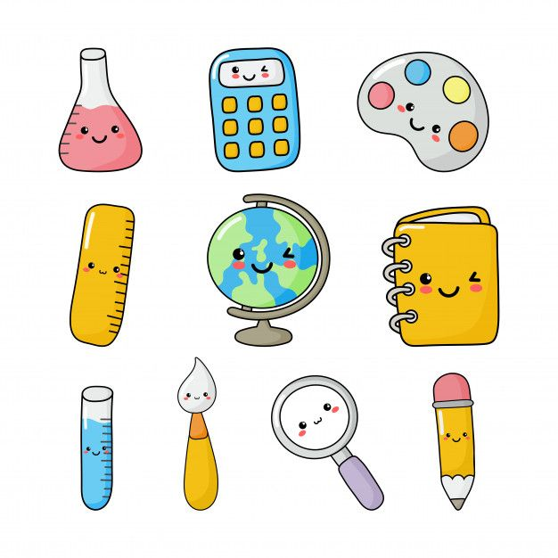 Best Funny School  Set of cute funny school supplies kawaii style. calculator, magnifier, pens, brush, ruler, notebook, globe, and others. education items isolated Premium Vector 9