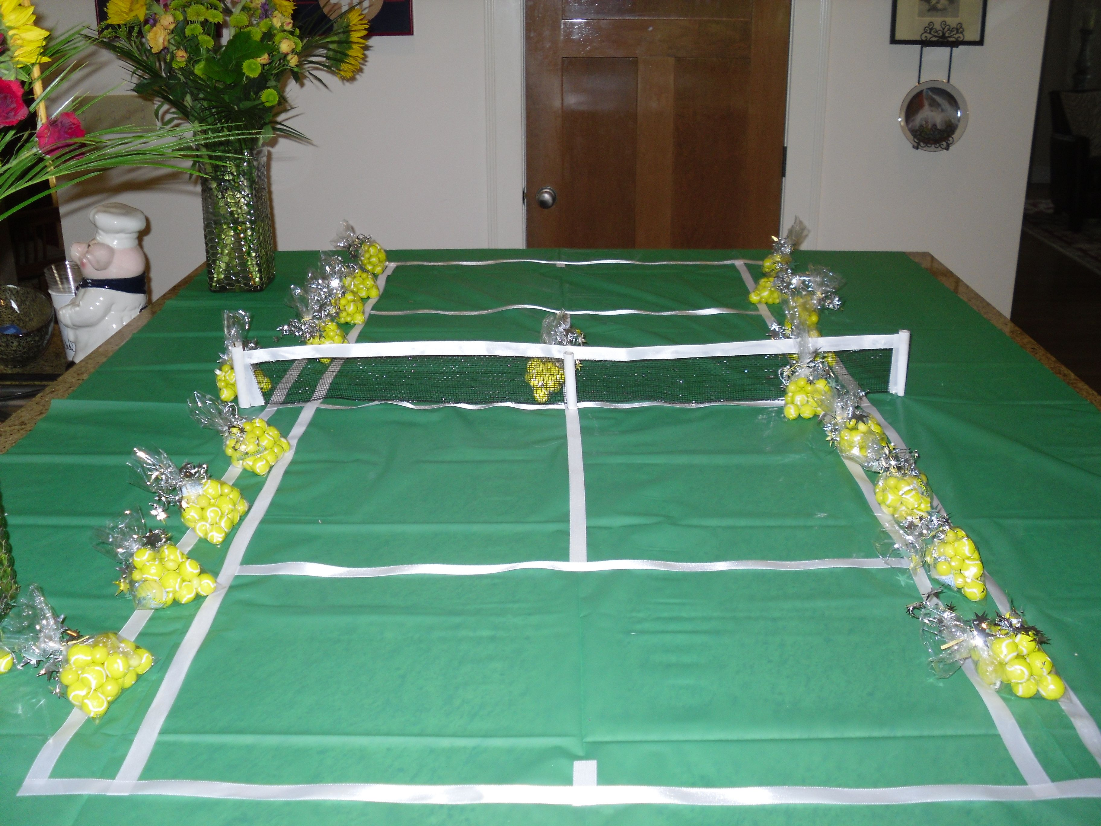 Tennis Court Made With Green Vinyl Tablecloth, White Ribbon, Black Mesh  Ribbon, And
