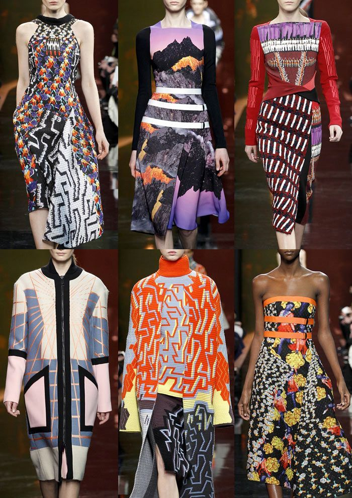 Bold Geometric Structure – Graphic Embroidery Looks - Earth and Landscape Print Elements – Geometric & Floral Mash ups – Bold Overlaid Pattern Statements – Abstract Forms – Colour Blocking Effects Peter Pilotto photos via Vogue.co.uk