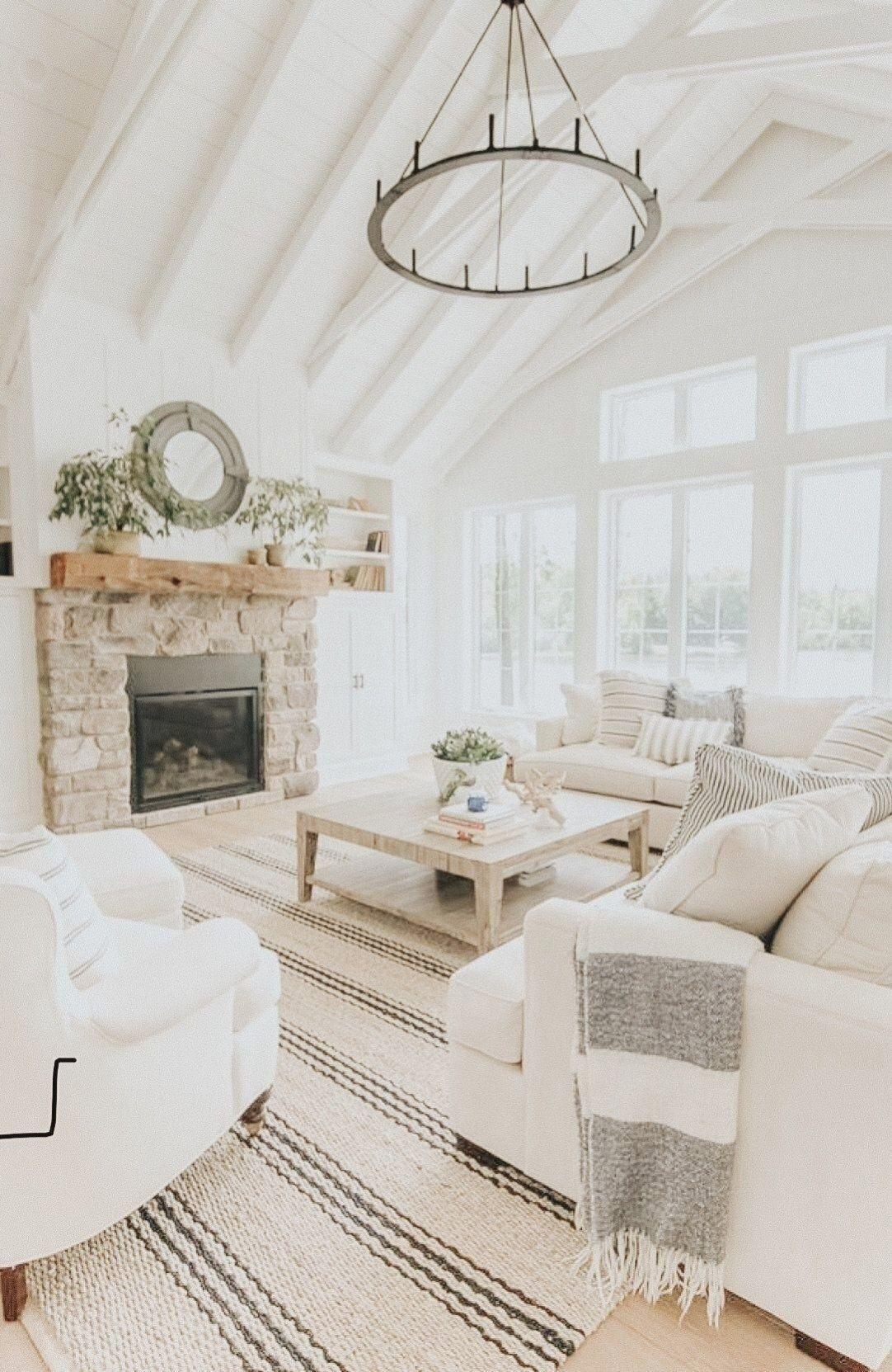 Moderne bauernhaus-wohnzimmer - weiß bemalte balken - dekoration