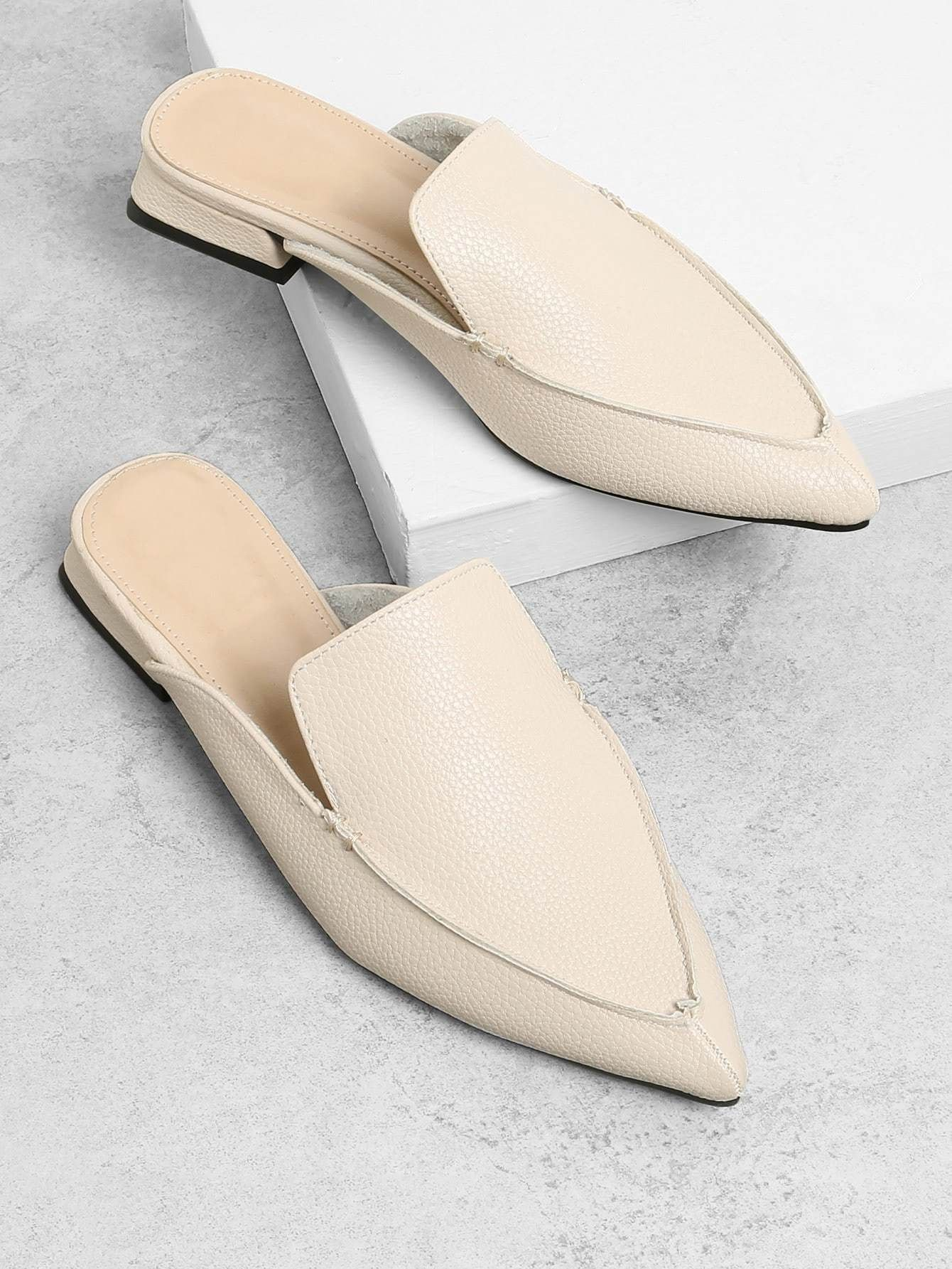 b73e38433 pu pointed toe flat mules. #flats #shoes #women #fashion | Outfits ...