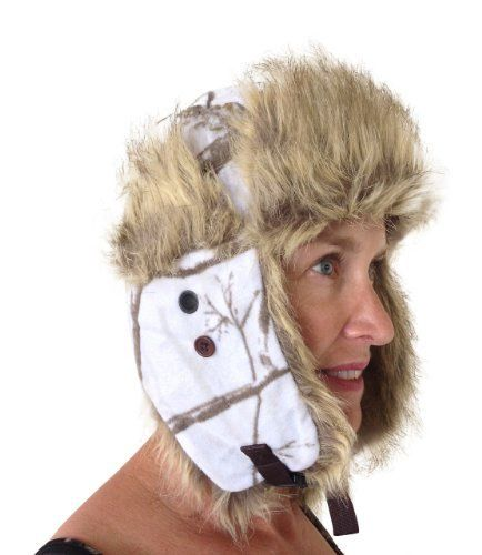 d7ff0733575b5 Realtree Snow Trapper Bomber Fleece Winter White Camo Hunting Hat LADIES  Price    39.50 http