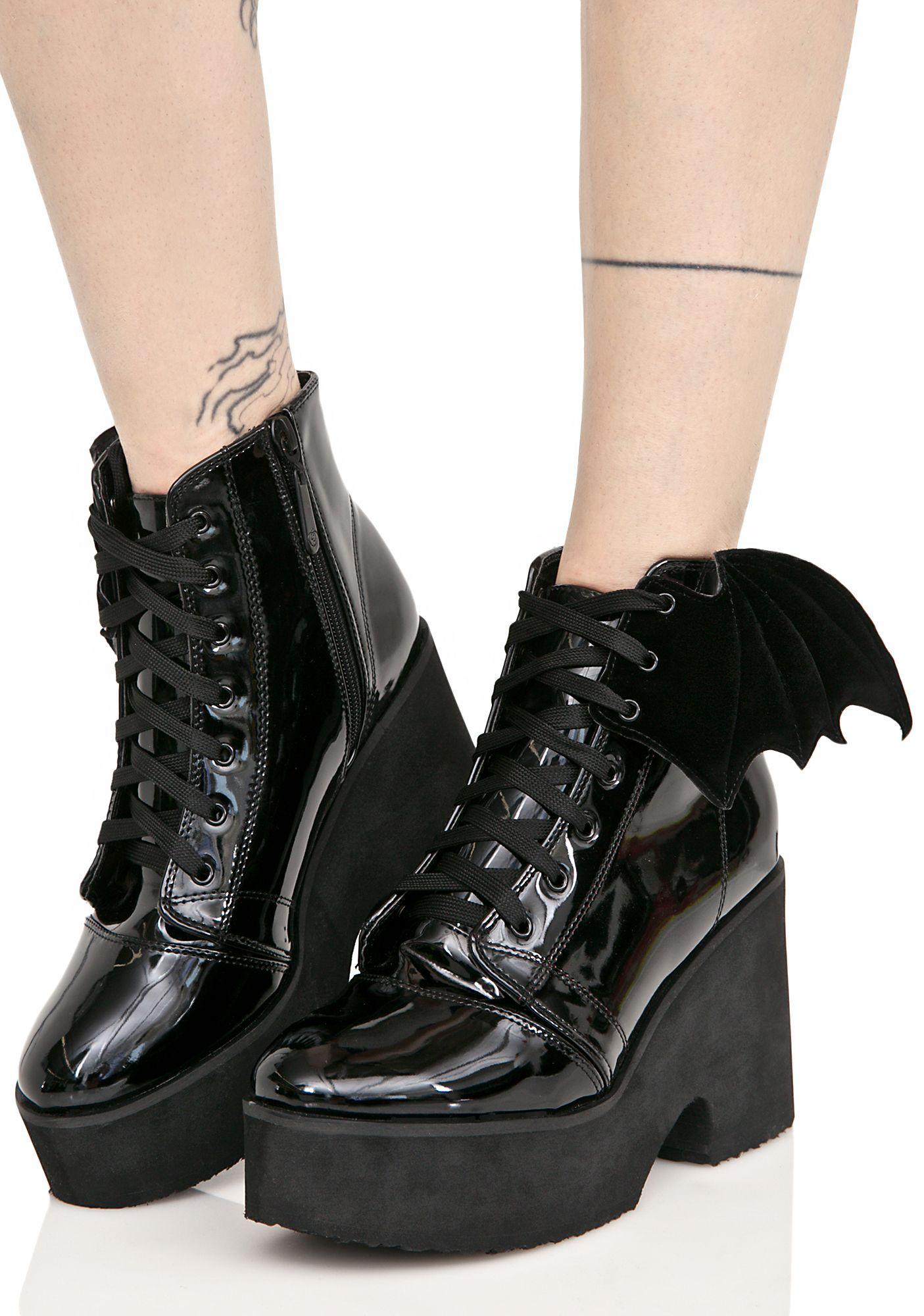 c7b1bb94755 Iron Fist Patent Bat Wing Platform Goth Boots