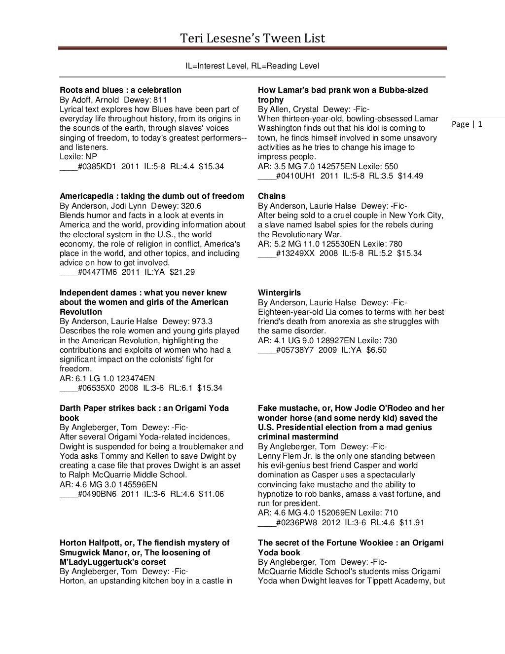 Tween List Ohio By Teri Lesesne Via Slideshare Teri Lesene