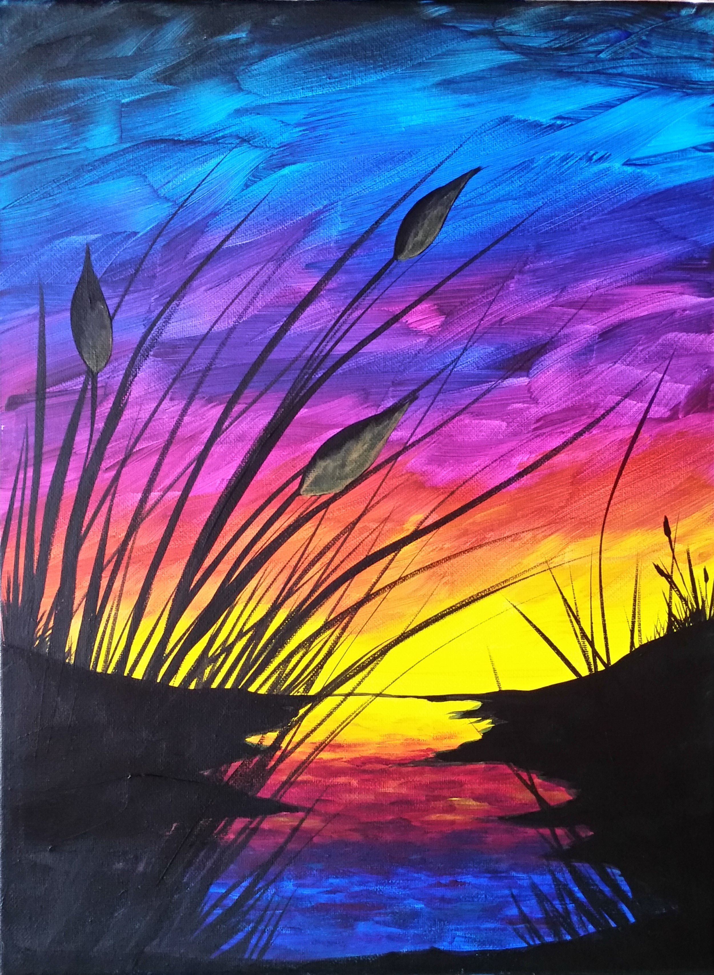 Sunset and Cattails | Simple acrylic paintings, Acrylic ...