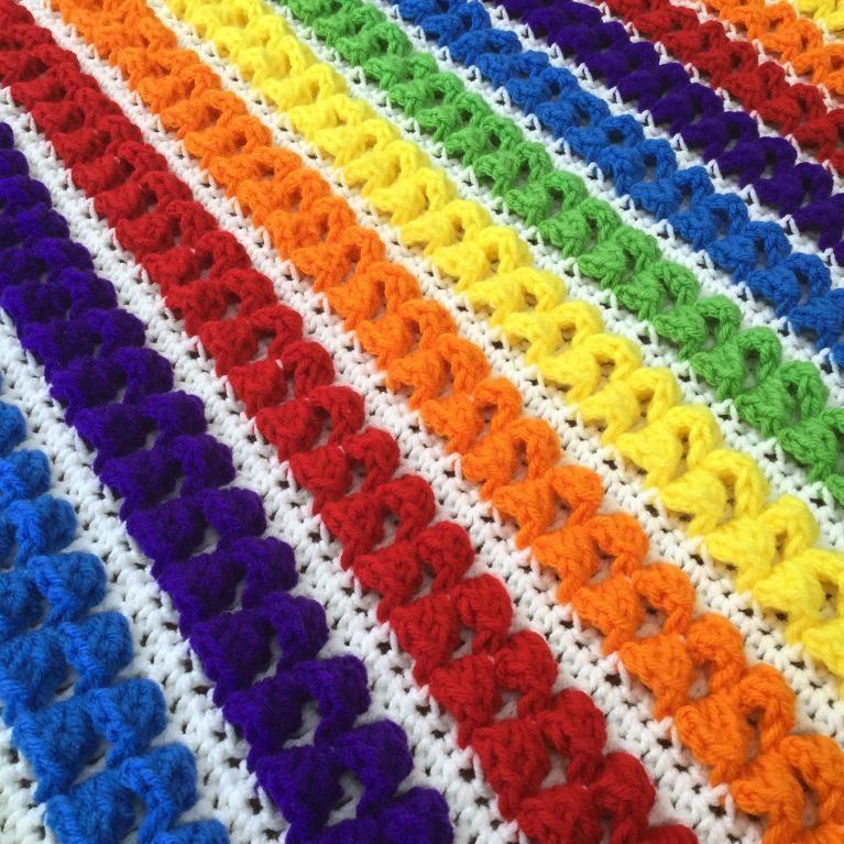 (4) Name: 'Crocheting : Rainbow Baby Blanket