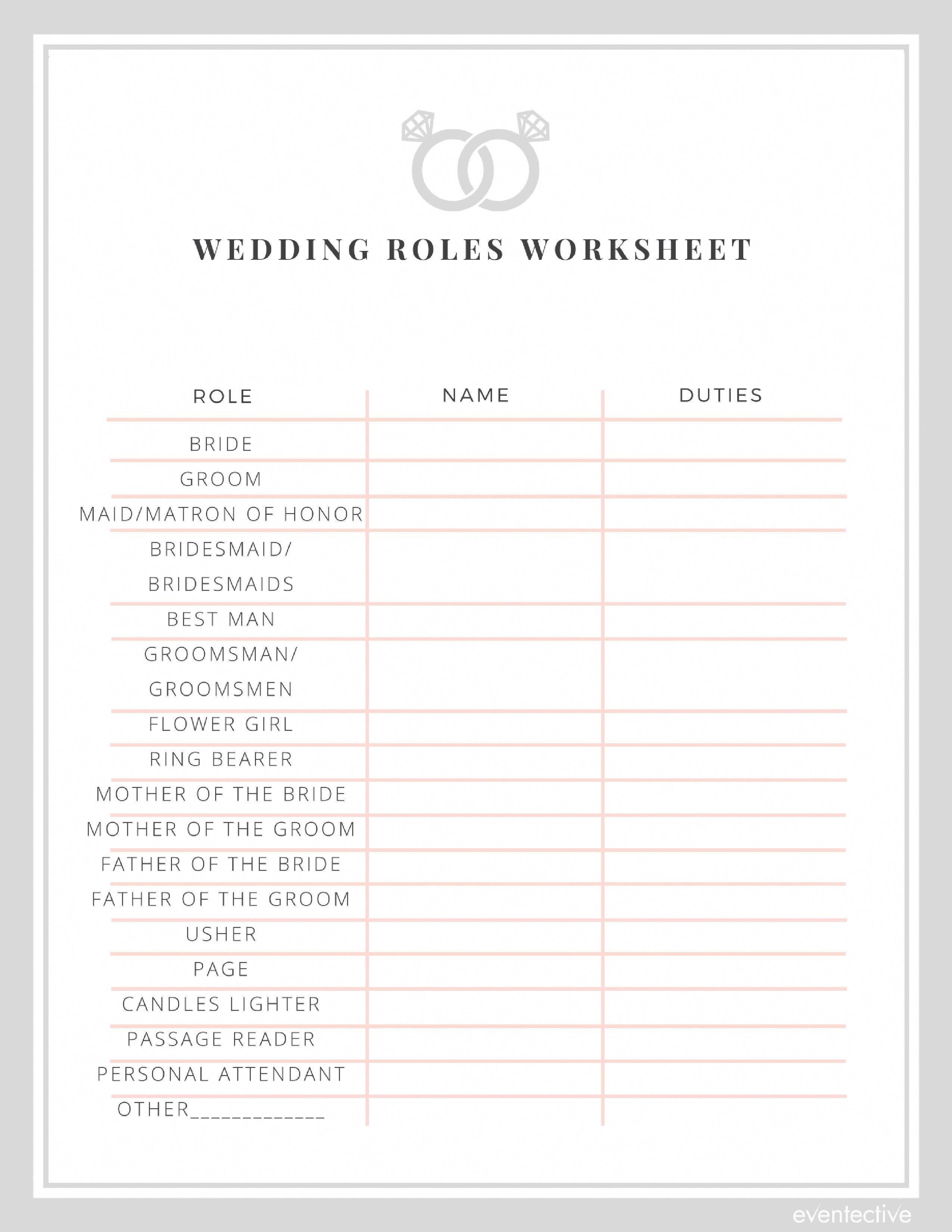 Wedding Roles Worksheet In