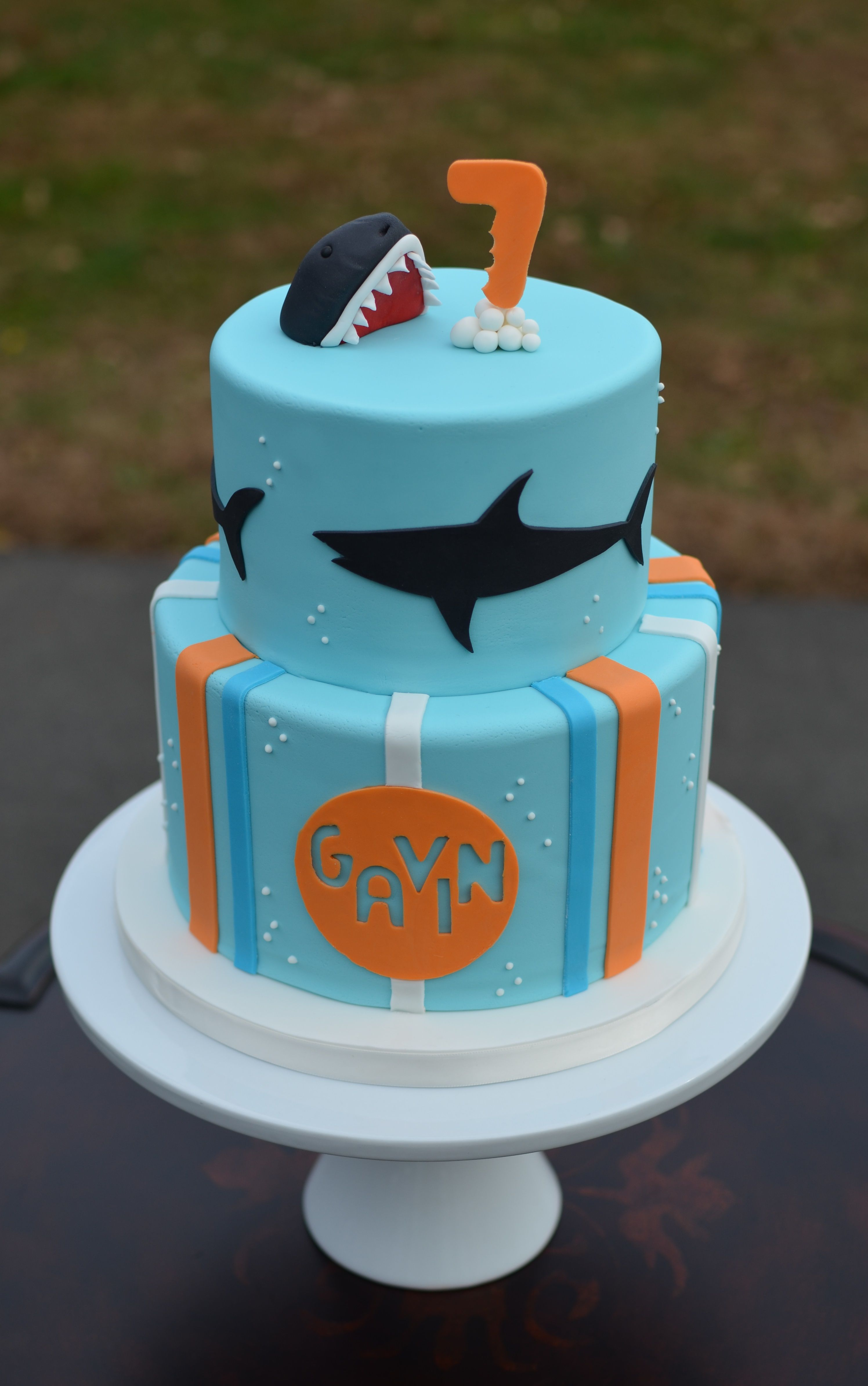 Cookie decorating party ideas - Shark Birthday Cake