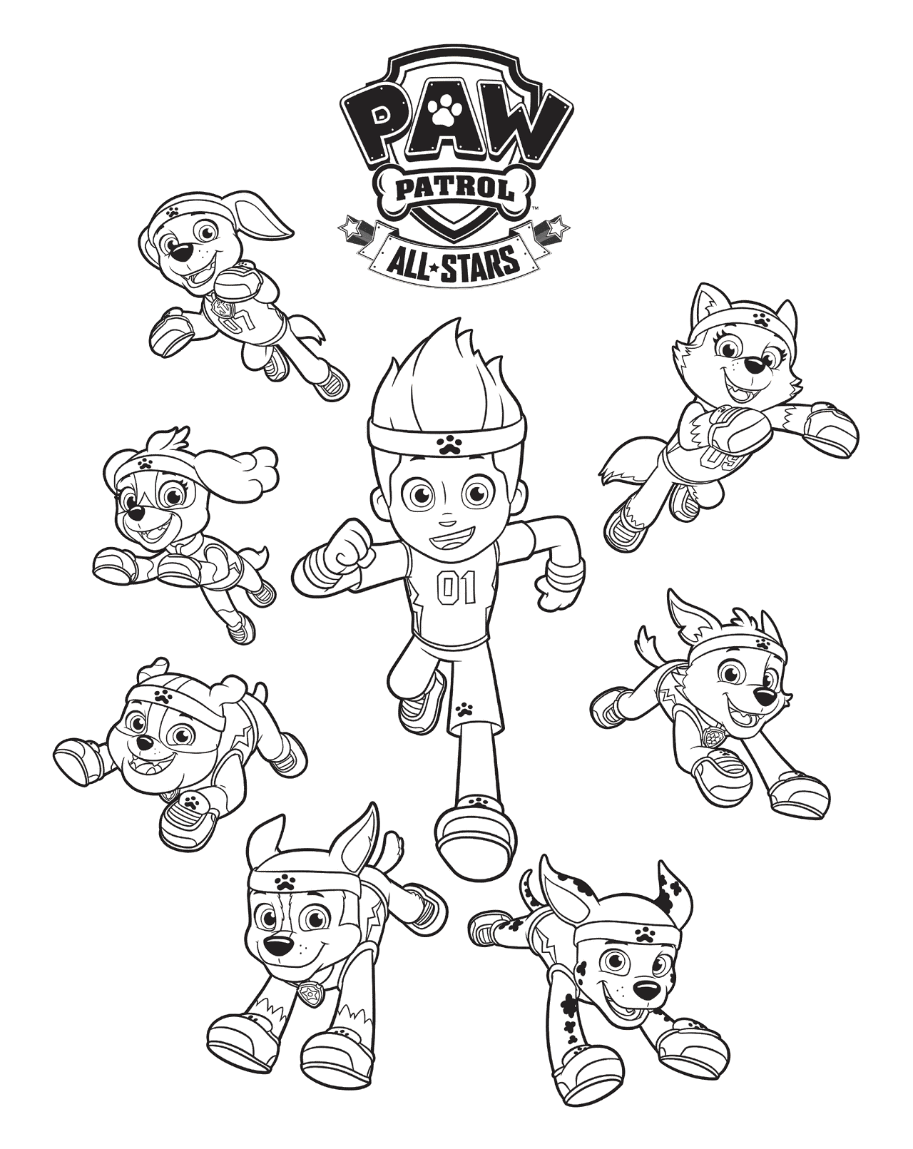 All Stars Paw Patrol Coloring Page