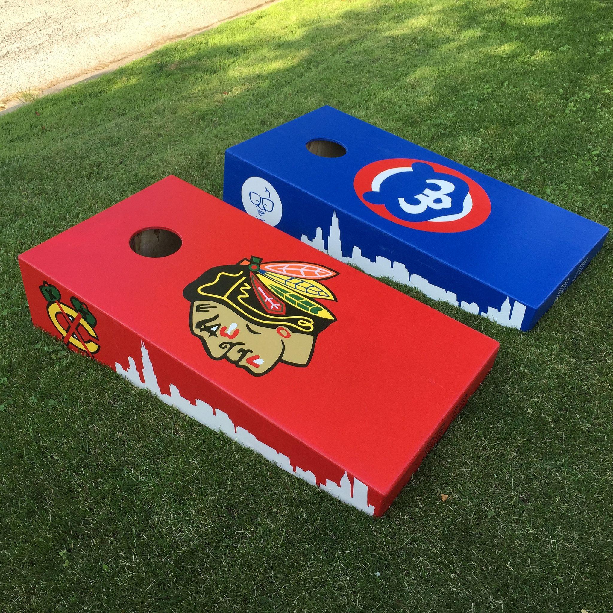 chicago blackhawks and cubs custom cornhole boards - Corn Hole Sets