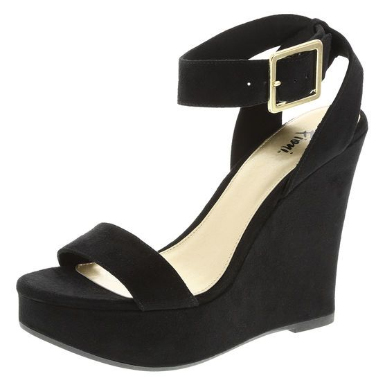 957a677bc87 Fioni Women s Megan Ankle Strap Wedge in Black at Payless. Pair the Megan  Wedge with your favorite outfit for a fashionable look!