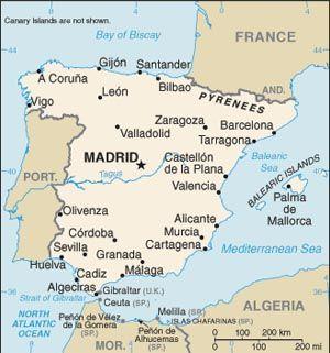 Mapa Es De Espana Y De Los Alrededores Kartta