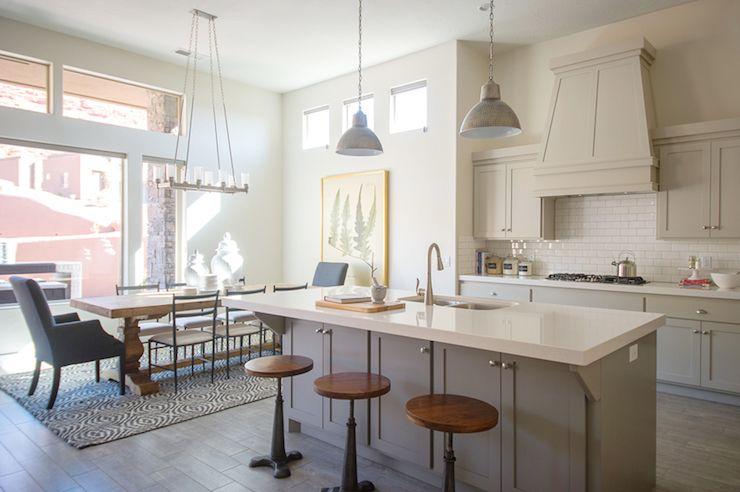 Open Concept Plan Pendants Over Island Painted Cabinets Quartz Enchanting Painting Kitchen Tile Backsplash Plans