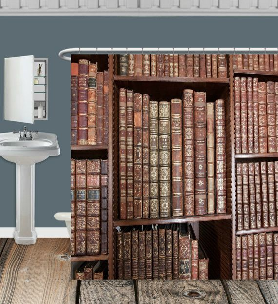 Shower Curtain Book Shelf Vintage Books Library By Folkandfunky