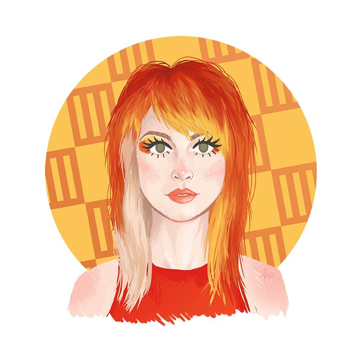 Hayley #2. Look: Misery Business music video. Hayley Williams, Paramore, hairstyles, orange hair, illustration, design,