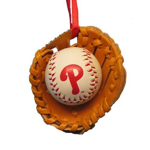 Philadelphia Phillies Ball and Glove Christmas Ornament ...