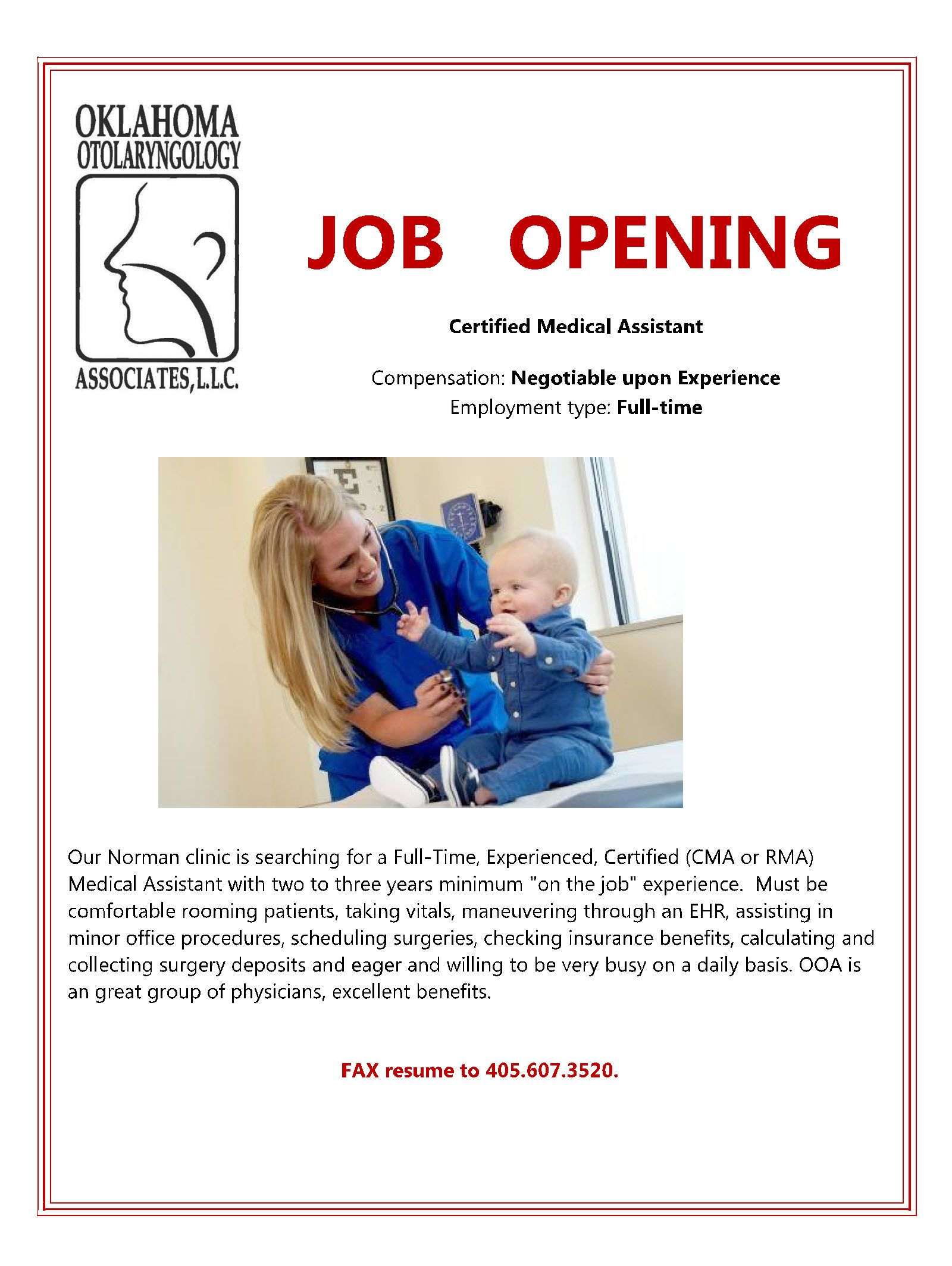 Job opening medical assistant certified medical