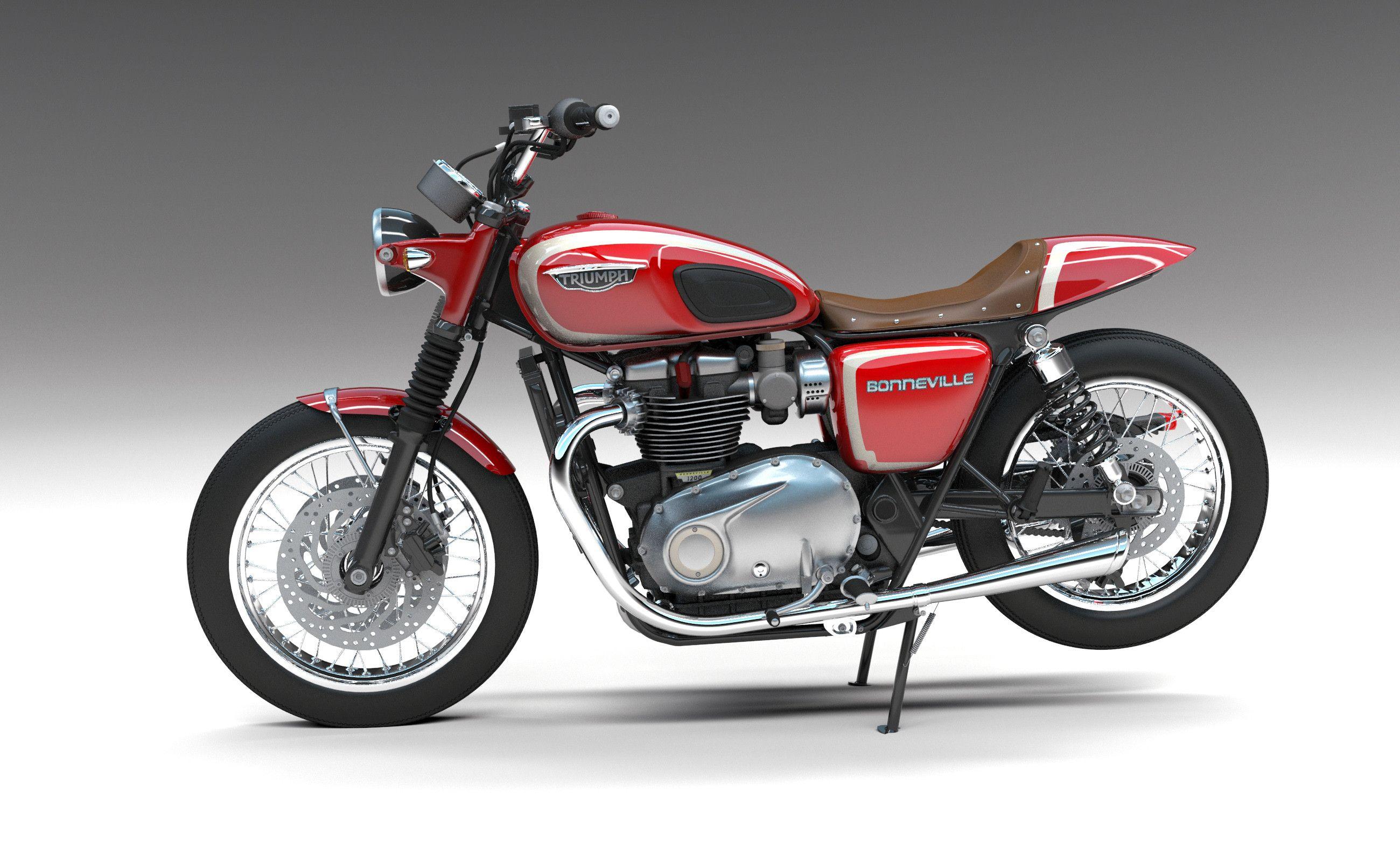 custom triumph bike 3d max