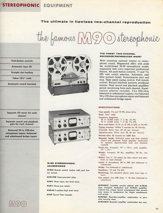 picture from 1956 Magnecord Tape recorder brochure