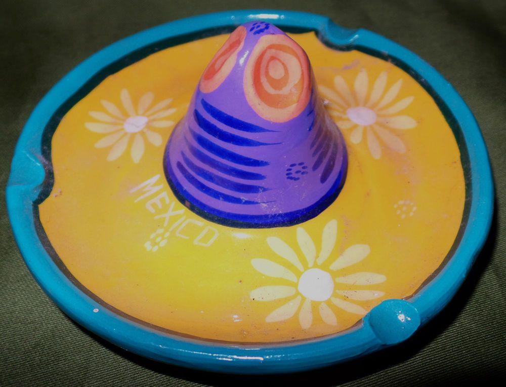 e48ecf32 Mexican Sombrero Hat Pottery Ashtray Trinket Holder Bright Multi-Color  Flowers