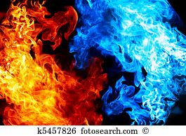 Red And Blue Fire Stock Photograph K5457826 Fire And Ice Wallpaper Black Background Wallpaper Red Fire