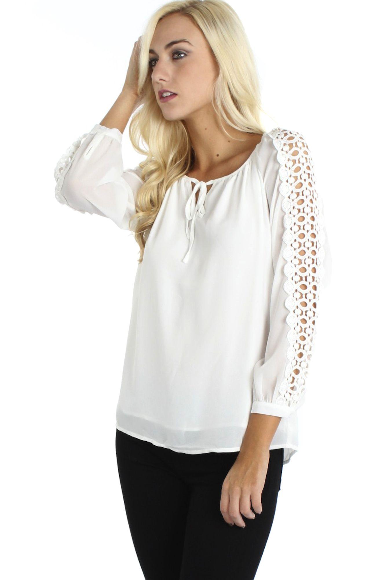 Crochet Sleeve Blouse $34.99 #sophieandtrey #tops #blouses #longsleeves #crochet #opencrochet #white
