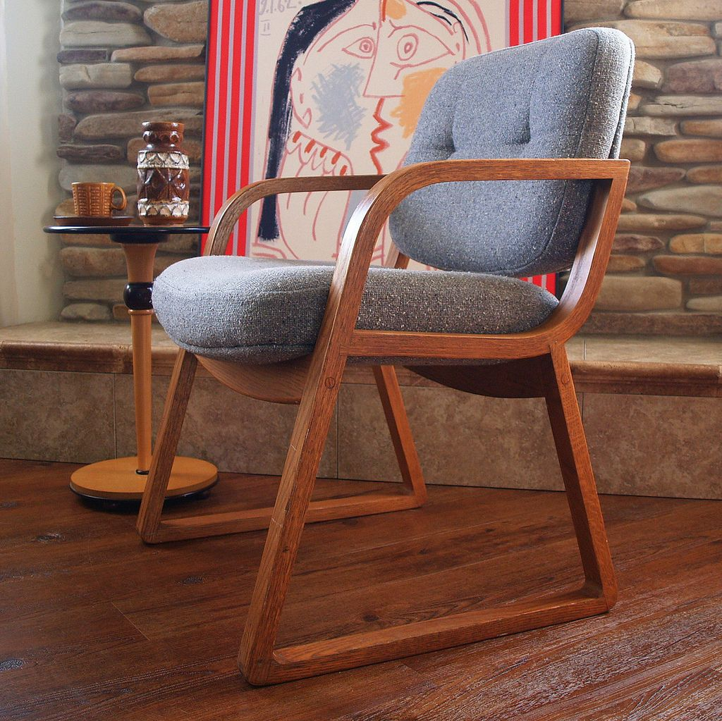 Stupendous 60S Vintage Danish Modern Chair Hon Grey Wool Oak Wood Mid Bralicious Painted Fabric Chair Ideas Braliciousco