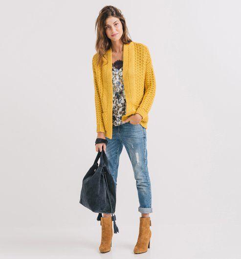 f4d16c4bf382 Sweter oversize żółto-zielony - Promod Pull Jaune Tenue