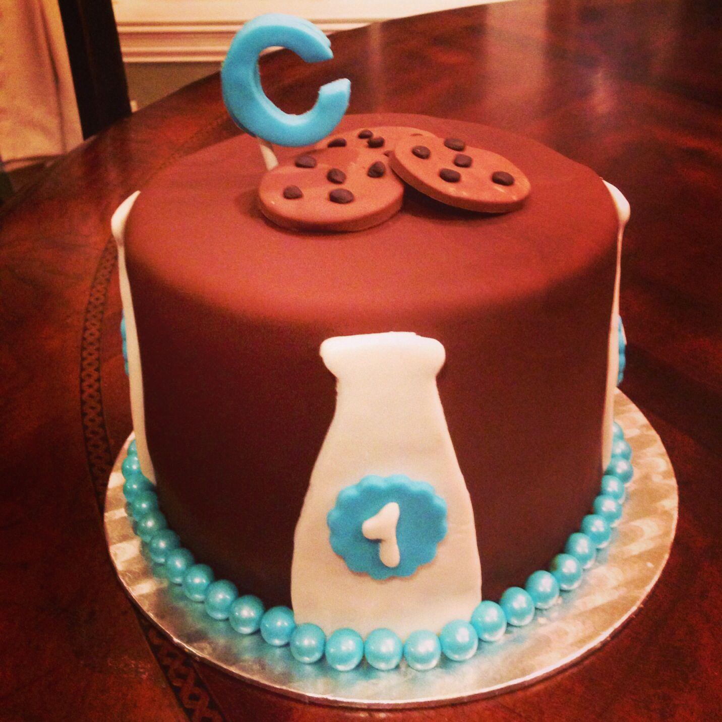 Milk And Cookies Cake Boy Cake 1 St Birthday Nettie Cakes