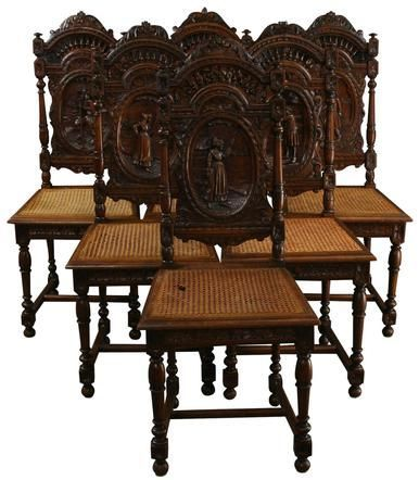 1880 Antique French Dining Chairs Set 6 Brittany Carved Chestnut