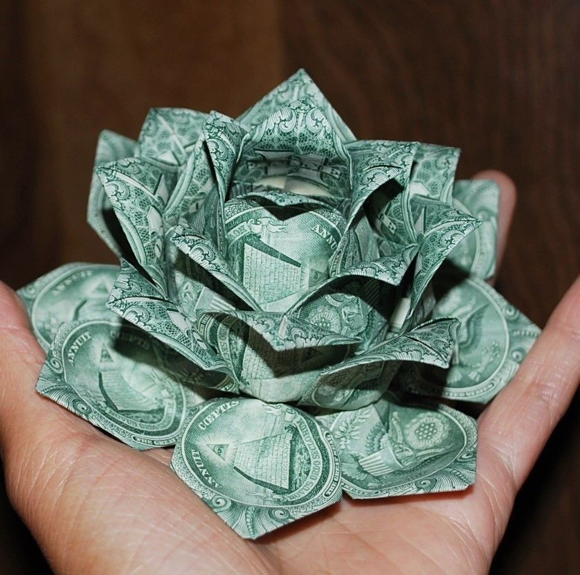 Origami Money flower real $1 bills Christmas Graduation holiday Gift Centerpiece