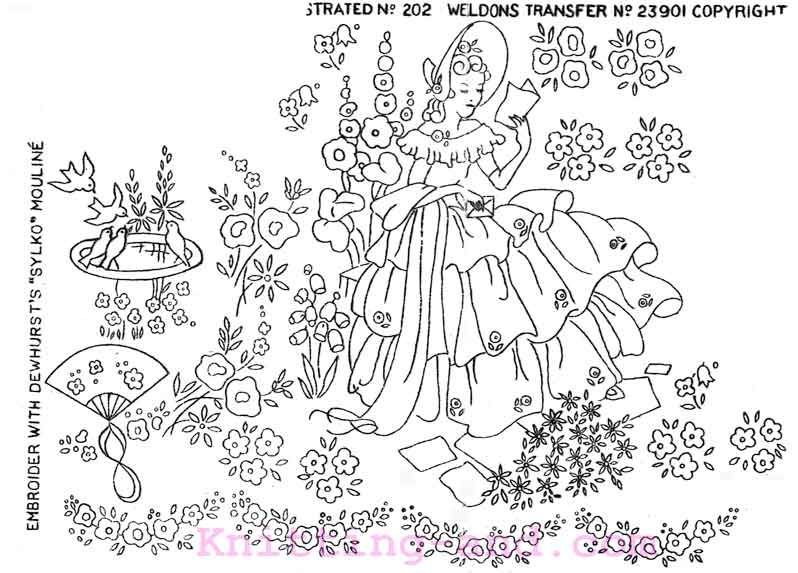Free Embroidery Design: lady reading in the garden | Sunbonnet ...
