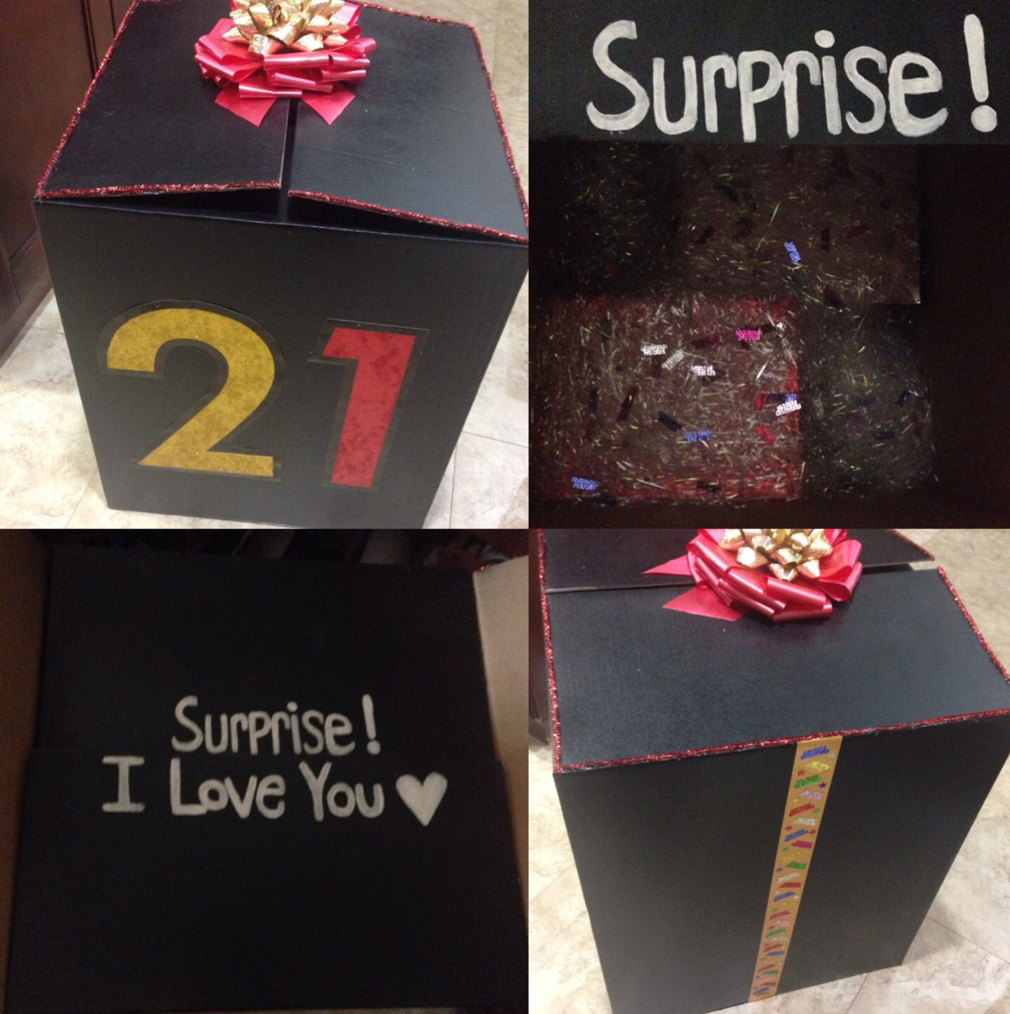 Decorated a giant box and stuffed presents inside for my