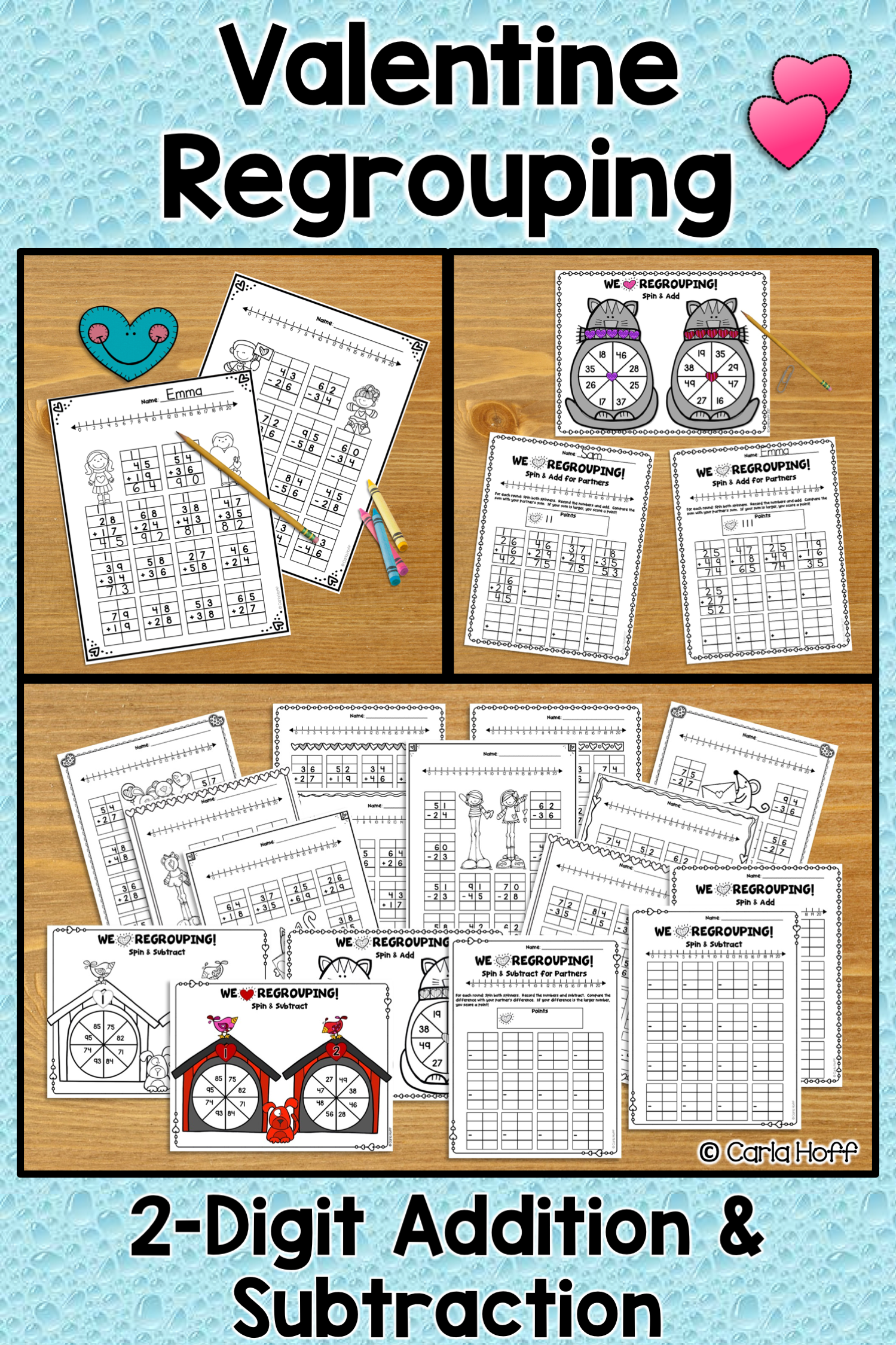 Valentine S Day Regrouping 2 Digit Addition And
