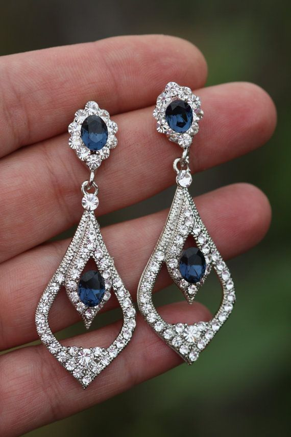 Sapphire Blue Bridal Earrings Swarovski Wedding Drop Chandelier Crystal Montana Something