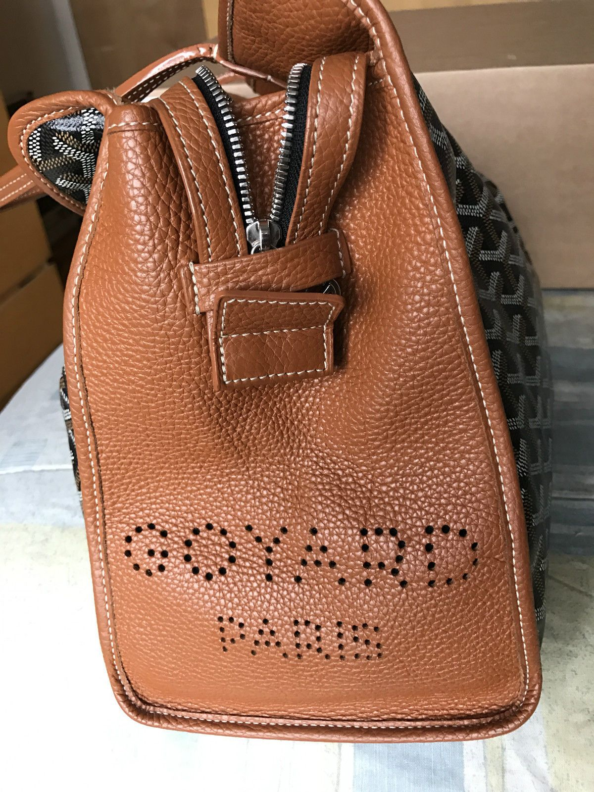 e6b2bce4 Goyard The Sac Hardy PM Black/Tan Weekender Travel Tote Dog Carrier Handbag