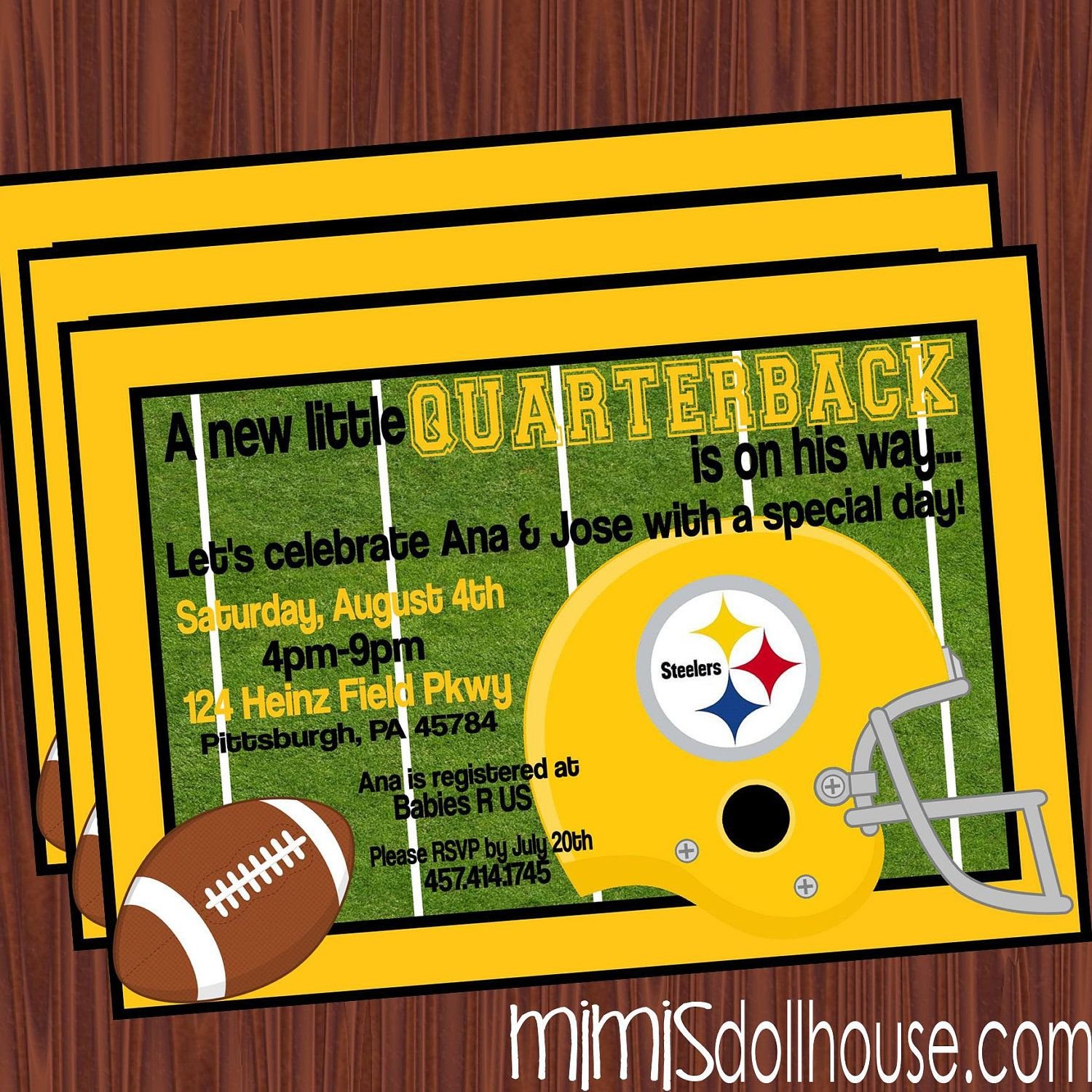 Football Baby Shower Invitation- Steelers | Baby Shower Ideas ...