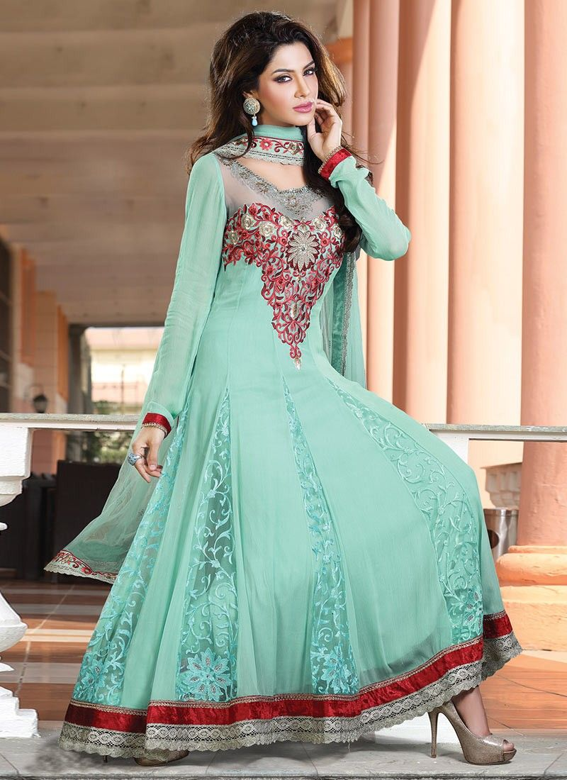 Pleasing Resham Enhanced Anarkali Suit | Anarkali suits, Anarkali ...
