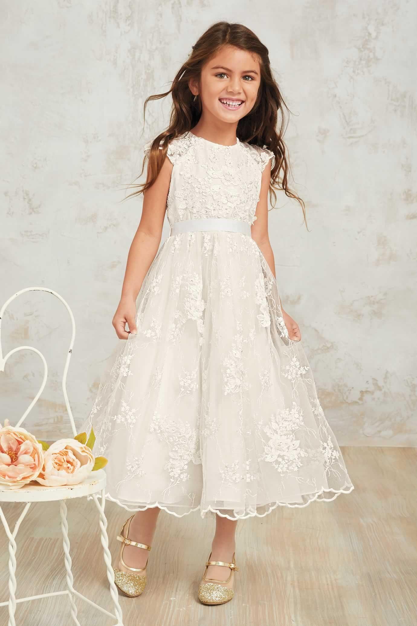 Girls Heirloom Floral Lace Dress Alt1 Long Flower Girl Dresses Floral Lace Dress Communion Dresses Lace