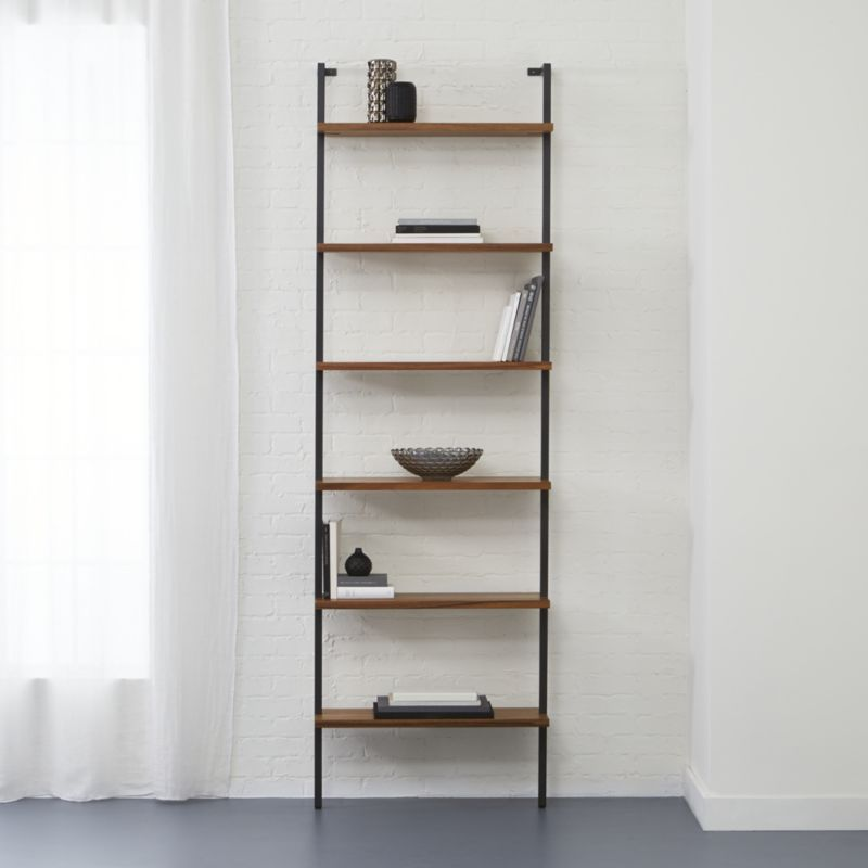 Shop Helix Large Wall Mounted Bookcase All The Right Angles For All The Right Stuff Six Fixed Acacia Venee Wall Mounted Bookshelves Bookcase Modern Bookshelf