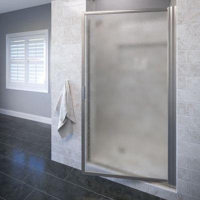 "Basco Deluxe 35.5"" x 70.5"" Pivot Shower Door Trim Finish: Brushed Nickel, Glass Type: Obscure"
