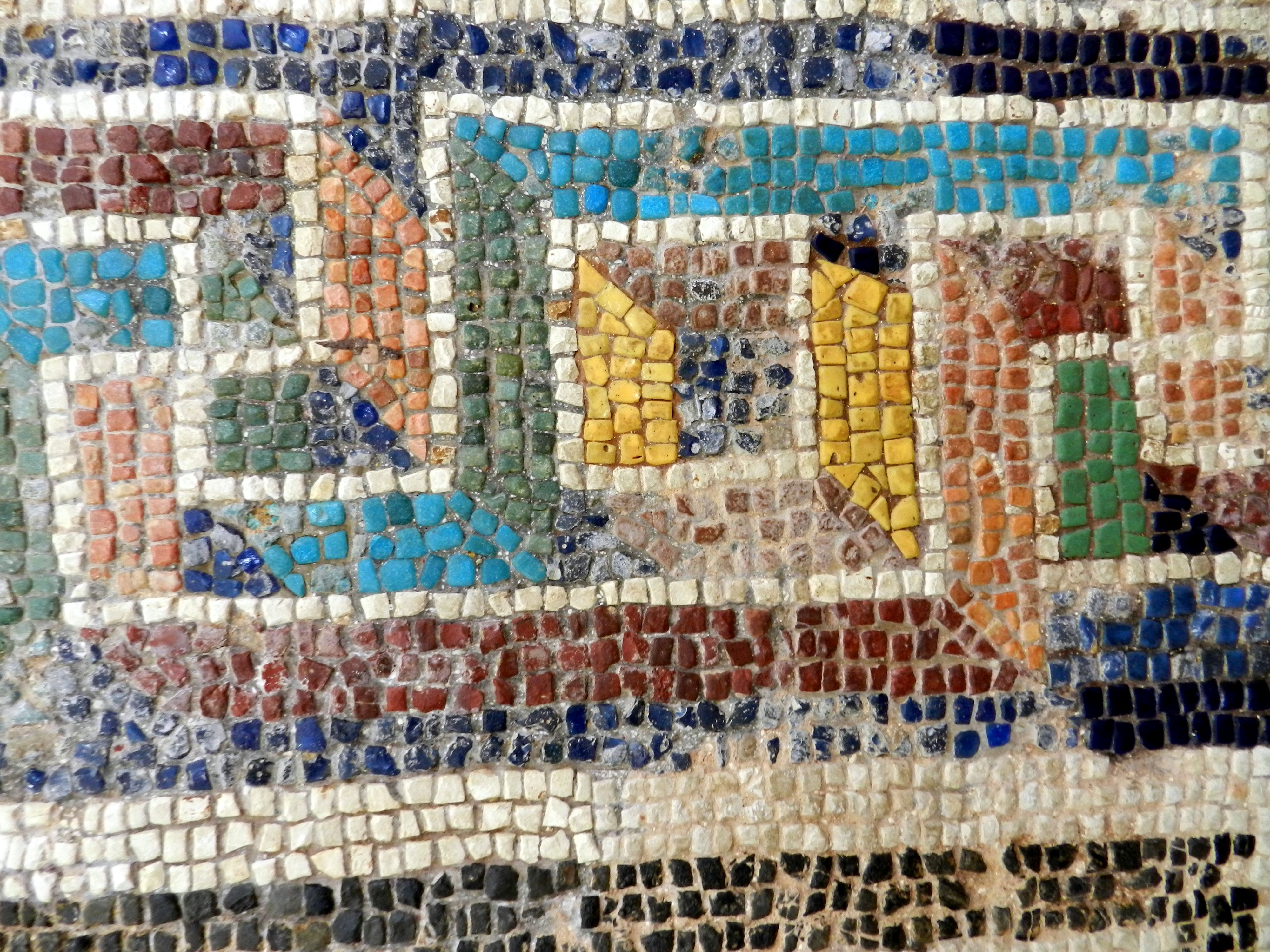 Border Detail With Glass Roman Mosaic From Corinth