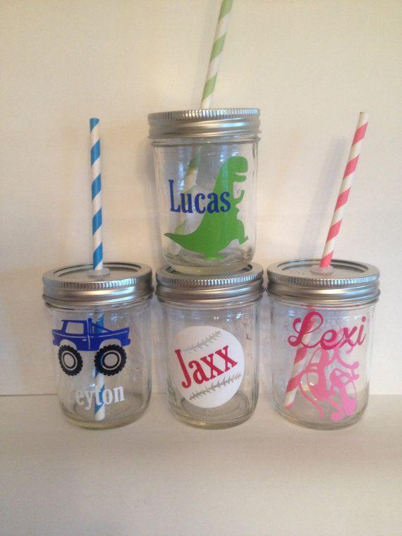 One Kids Mason Jar Cup Personalized Kids Cup Kids By Kissmasonjars Personalized Kids Cups Mason Jar Cups Kids Cups