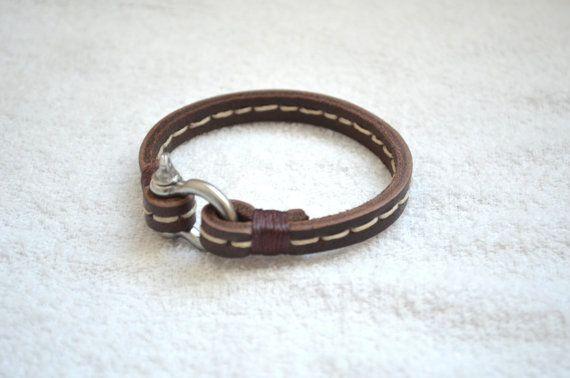 Bracelet en cuir pour homme avec Manille en acier boucle déployante – Bracelet homme – bijoux pour homme Unisex – Dark brune2 – main cousu