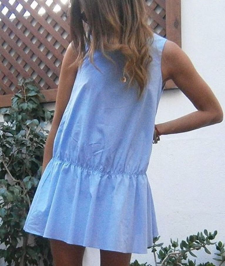 7fb95395f16 Zara Sky Blue Poplin Frill Jumpsuit Dress - Beautiful Wardrobe ...
