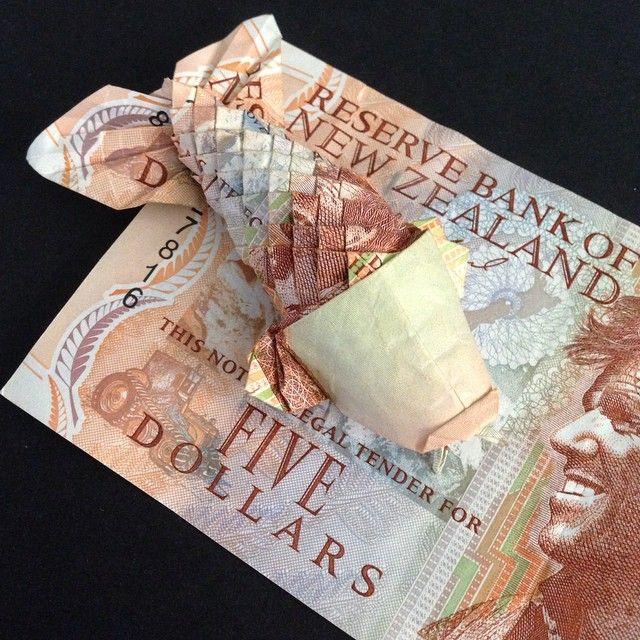 New Zealand money origami fish
