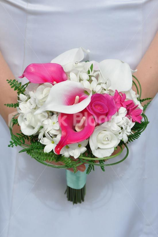 Vibrant white fresh touch rose and hot pink vermeer calla lily shop vibrant white fresh touch rose and hot pink vermeer calla lily bridesmaid bouquet w stephanotis online from silk blooms mightylinksfo