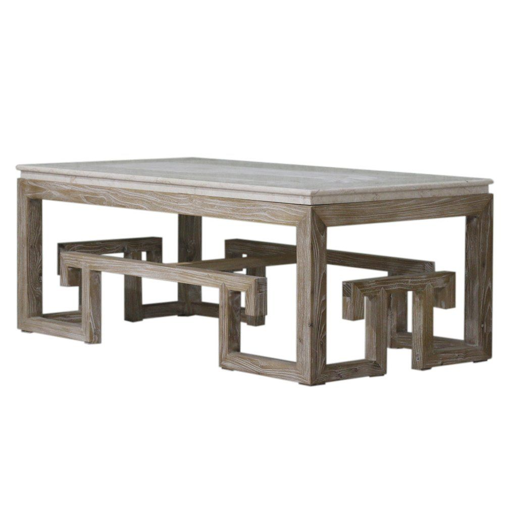 Furniture Greek Key Marble Top Coffee Table tables cocktail